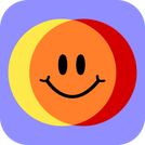 Colibrium logo - yellow & red circles crossing over to make orange, with a smiley face in the middle (blue background, rounded corners)