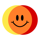 Colibrium logo - yellow & red circles crossing over to make orange, with a smiley face in the middle (white background, rounded corners)