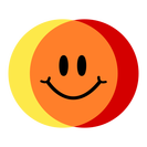 Colibrium logo - yellow & red circles crossing over to make orange, with a smiley face in the middle (transparent background)