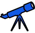 Blue cartoon telescope