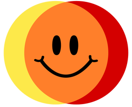 Colibrium logo - yellow & red circles crossing over to make orange, with a smiley face in the middle