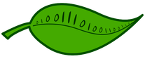 Technaturally Games logo - green leaf with binary numbers in the middle